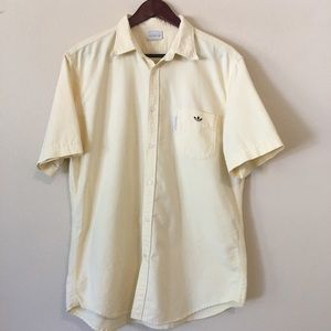 Adidas Yellow Men's Button Down Shirt Short Sleeve
